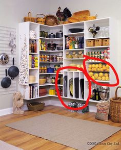 Pantry ideas...I like the slotted areas for trays, cookie sheets & other pans.  Also like the various shelf heights.