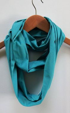 Turquoise Infinity Scarf 6 Wide 70 Loop Cotton