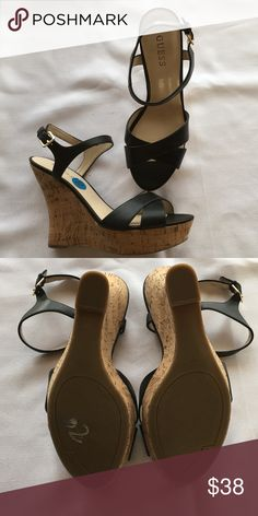 NEW Guess black cork wedges Guess brand black leather and cork heel wedges.  New. GUESS Shoes