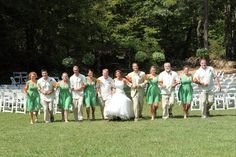 This is a fun picture!  Also note what the groom and groomsmen are wearing - staying cool and looking cool @ Vecoma at the Yellow River! #weddings