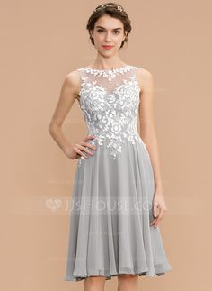 ea81752deb A-Line Scoop Neck Knee-Length Zipper Up Regular Straps Sleeveless No Other  Colors Spring Summer Fall Winter General Plus Chiffon Lace Bridesmaid Dress