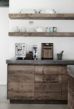 rustic wood with concrete countertops?