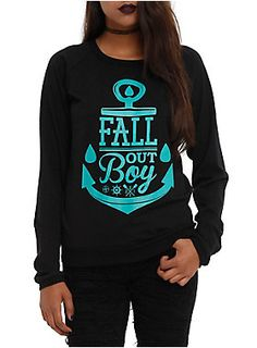 Black long-sleeved top with a Fall Out Boy anchor logo design.<ul><li> 100% cotton</li><li>Wash cold; dry low</li><li>Made in USA</li><li>Listed in junior sizes</li></ul>