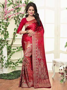 Red Banarasi Silk Saree With Blouse 87527