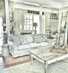 35 Gorgeous Shabby Chic Living Room Design And Decor Ideas 35 Gorgeous Shabby Chic Living Room Design And Decor Ideas Home Living Room, Farm House Living Room, Living Room Makeover, Shabby Chic Bedrooms, Shabby Chic Living Room Design, Shabby Chic Room, Living Decor, Chic Home Decor, Shabby Chic Farmhouse