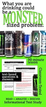 Informational Text Lesson on Hot Topics: Dangers of Energy Drinks Health Teacher, Health Class, Health Education, Health Lesson Plans, Health Lessons, High School Health, Close Reading Activities, Informational Writing, Persuasive Writing