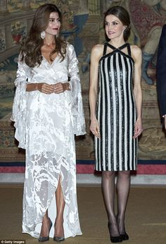 Argentina's First Lady Juliana Awada (left) and QueenLetizia of Spain enjoyed each other's company at another dinner in honour of the King and Queen's Argeninian guests