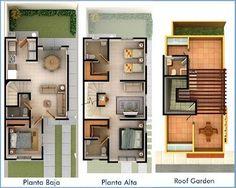 Planos de Casas y Plantas Arquitectónicas de Casas y Departamentos: Plantas arquitectónicas de casa con Roof Garden