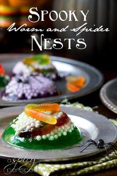 Halloween Dessert: Creepy Worm and Spider Nest Treats | ASpicyPerspective.com #Halloween #KidFriendly #Jello