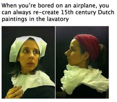 So bizarre it's funny!  This is one of my sister's good friends.  It is hilarious and all done in airplane bathrooms!