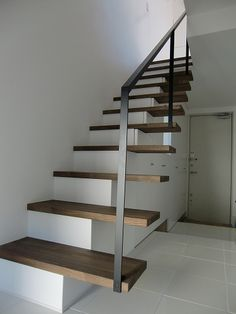 New Floating Concrete Stairs Stairways 18 Ideas Bookcase Stairs, Basement Staircase, Staircase Handrail, Tile Stairs, New Staircase, Concrete Stairs, Loft Stairs, House Stairs, Staircase Design