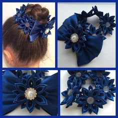 Navy Bun Wrap/Topknot. Perfect for school. Can be made in any other colour of  your choice. Price: £7.99, Free UK Delivery. #kanzashi #kanzashiflowers #kanzashibows #handmade #bunwrap #topknot #topknots #navy #school #schoolhair #schoolhairstyle