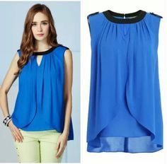 blouse jacket on sale at reasonable prices, buy New 2014 Casual Sleeveless Fashion Design Women Clothing Summer Chiffon Blouse Shirt 3 colors blusas femininas from mobile site on Aliexpress Now! Looks Plus Size, Plus Size Tops, Blouse And Skirt, Sheer Blouse, Summer Outfits Women, Blouse Designs, Shirt Blouses, Chiffon Tops, Casual Wear