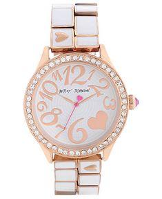 Betsey Johnson Watch, Women's White Enamel and Rose Gold Tone Bracelet