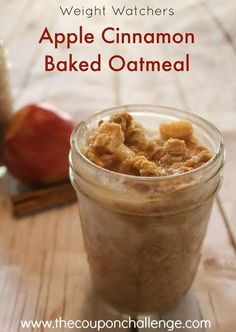 Try this Weight Watchers Oatmeal recipe.  It's filling and full of healthy ingredients that will make you want to eat this fabulous Apple Cinnamon Baked Oatmeal for breakfast everyday!