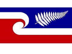 MAORI FLAG WITH SILVER FERN ON BLUE. by JOHN HYNDMAN, tagged with: Fern, Koru, Blue, Red, White.