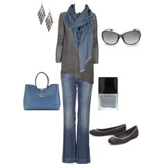 """Fall"" by cs1398 on Polyvore Really like the color combo--gray and a blue-end periwinkle"