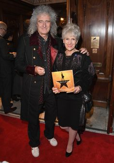 Brian May Photos - Musician Brian May with his wife actor Anita Dobson attend the opening night of 'Hamilton' at Victoria Palace Theatre on December 2017 in London, England. Hollywood Couples, Celebrity Couples, Hamilton Eliza, Victoria Palace Theatre, Queen Brian May, Queen Band, Most Handsome Men, Opening Night, Significant Other