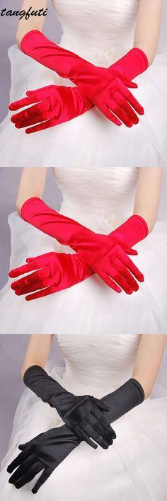 Bride Bridal Wedding Gloves Red Black White Ivory Long Satin Elegant for  Women Finger gants mariage luvas de noiva 2017 Cheap