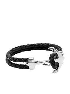 3mm Black Braided Leather Anchor Hook Lock in 925 Solid Silver with Vintage Silver Plating Anchor 25 x 37mm Product Code: MLTHCO_152  Please note that all our pieces are crafted by hand and one-of-a-kind, and may therefore vary slightly in size, shape, and color. Designer's Notes This classic black leather bracelet is decorated with a sturdy, solid silver anchor lock. Hand-braided from the finest Italian leather, this piece stands out on its own but is also great for st...