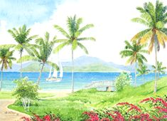 Island View by Anne Miller, x watercolour print Watercolor Print, Caribbean, Golf Courses, Island, Watercolours, Gallery, Boats, Painting, Sea