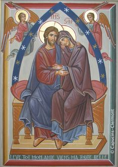 The Lord and His Mother. Religious Images, Religious Icons, Religious Art, Byzantine Icons, Byzantine Art, Mary Magdalene And Jesus, Good Shepard, Holy Art, Church Icon