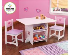 KidKraft Heart Table and Chair Set Kids Furniture Bedroom Play Table Chairs Toddler Furniture, Kids Bedroom Furniture, Baby Furniture, Furniture Deals, Cool Furniture, Playhouse Furniture, Kids Table Chair Set, Kids Play Table, Kid Table