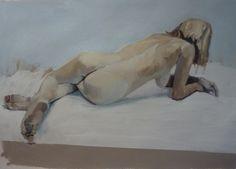 Philip Tyler Lyndsay's back Oil on Paper 52 x 72cm http://www.northcotegallery.com/
