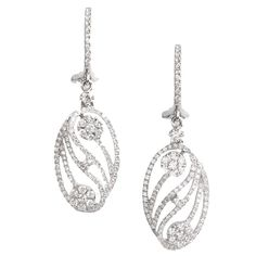 Diamond Gold Drop Earrings | From a unique collection of vintage drop earrings at https://www.1stdibs.com/jewelry/earrings/drop-earrings/