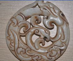 Old Jade Chinese Dragon Round Carved Amulet by soyon on Etsy, $20.00