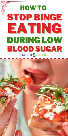 Binge-eating during low blood sugars can wreak havoc on your blood sugar levels, your energy, your weight, and your daily life. The blood sugar roller coaster that often accompanies over-eating during hypoglycemia is exhausting. Here, we'll discuss how to stop the cycle and habit of binge-eating during low blood sugars. #diabetes #lowbloodsugar #managingdiabetes #diabetesstrong Lower Blood Sugar Naturally, Blood Sugar Diet, Causes Of Diabetes, Binge Eating, Diabetes Management, Diabetic Friendly, Protein Foods, Health And Fitness Articles
