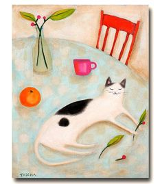 ORIGINAL LARGE acrylic painting portrait of a CAT with orange berries and tea, by Tascha