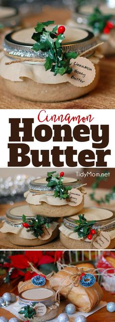 Delicious handmade food gift that requires no baking! Cinnamon Honey Butter makes a beautiful gift in a jar when paired with homemade bread or pound cake. Get the easy recipe + gift jar tutorial at TidyMom.net