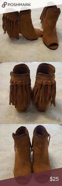 DV by Dolce Vita for target peep toe fringe bootie Peep toe fringe bootie with zipper detailing. These booties have been worn once and are in near perfect condition! Size 8 but I'm an 8.5 and they fit perfectly. DV by Dolce Vita Shoes Ankle Boots & Booties
