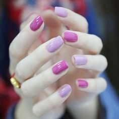 Two color tone purple nails- love these. Perfect Nails, Gorgeous Nails, Love Nails, Pretty Nails, My Nails, Prom Nails, Gradient Nails, Purple Nails, Acrylic Nails