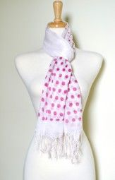 Polka dots are fun and flirty for the spring and summer season.  This lightweight pink polka dots summer scarf is perfect.  The polka dots change size from larger to smaller in the middle, making this summer accessory that much more fun. $12.99 Use code PINIT at checkout for 10% off your entire order.