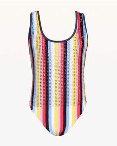 cf4a8b9b22 Swarovski Malibu Stripe Microterry Bodysuit  Featuring deeply chic