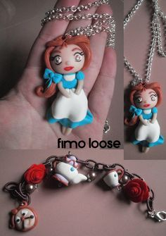 fimo polymer clay collana necklace disney