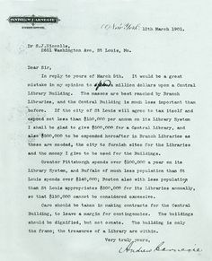 A letter from Andrew Carnegie pledging funds for a public library in St. Louis, Missouri