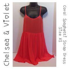 Chelsea & Violet Coral Spaghetti Strap Dress - Xs