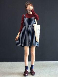 How to Wear Skirt in Korean Daily Fashion Style  http://www.ferbena.com/wear-skirt-korean-daily-fashion-style.html #KoreanFashion