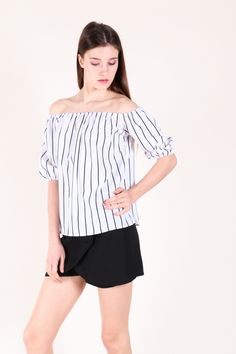 Off shoulder Striped Sleeve Top (White)  $28