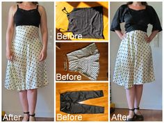 Dress from skirt refashion. Bolero from trousers. Saga i farver: Silkekjole af nederdel, top og bukser