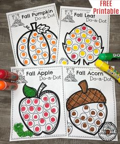 fall colors Do you need some Adorable Fall Coloring Pages for kids? These Do-a-Dot coloring pages are a perfect art activity for kids this fall. Do-a-dot coloring pages are great for kids, Fall Preschool Activities, Preschool Learning Activities, Preschool Crafts, Preschool Worksheets, Preschool Fall Theme, Preschool Colors, Free Preschool, Preschool Printables, Fun Learning