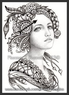 Fairy Tangles Gwendolyn Zentangle Doodles Coloring Adult Pages Pattern Fairytangles