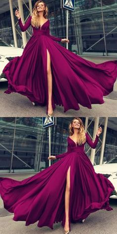 Sexy Plunge V-neck Long Sleeves Prom Dresses Leg Slit Evening Gowns