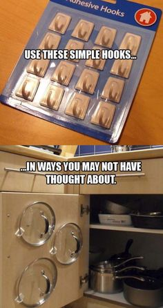 Organizing, Storage // Kitchen, adhesive hooks