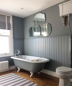 My favourite room in our house! Washable stripe rug from Hare & Wilde, perfect for bathrooms... #rug #interiordesign #bathroom #bathroominspo #instahome #rolltop #rolltopbath #victorianhouse #littlegreen #homeinterior #interiors #home