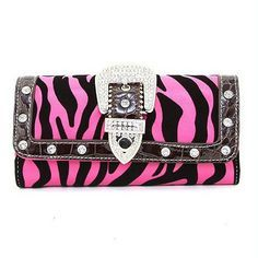 Amazon.com: Dasein Women's Western Rhinestone Buckle Leather Like Checkbook Wallet Purse - Zebra Fuchsia: Clothing