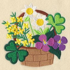 """This free embroidery design from Embroidery Library is called """"Lucky Blooms in Basket""""."""